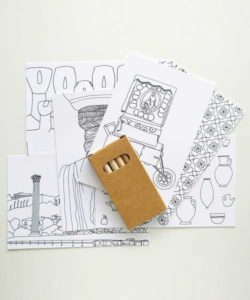 6 Colouring Postcards Set - 6 Pencils