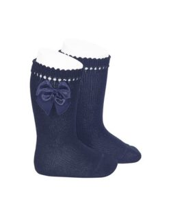perle-knee-high-socks-with-bow-navy-blue