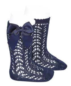 perle-openwork-knee-high-socks-navy-blue
