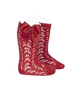 perle-openwork-knee-high-socks-red